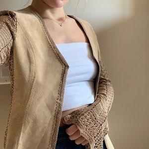 Danier Vintage Genuine Leather Knitted Tan Cardi